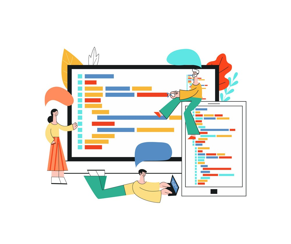 Vector illustration of application development – team of it specialists working on software.